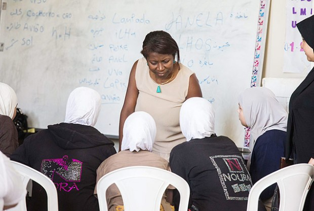 Syrian refugees learn Portuguese at the Guarulhos Islamic Society